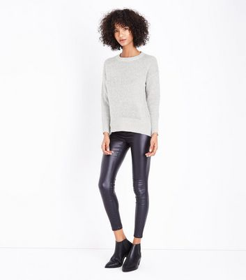 Pale Grey Longline Jumper New Look