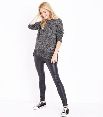 Black Marl Longline Jumper New Look