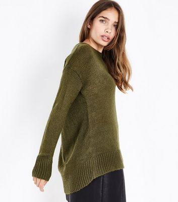 Khaki Longline Jumper New Look