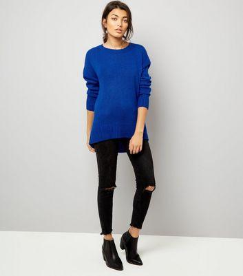 Blue Longline Jumper New Look