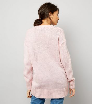 Pink Longline Jumper New Look