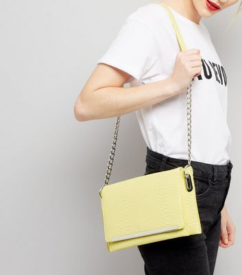 Washed Neon Lime Snakeskin Texture Cross Body Bag New Look