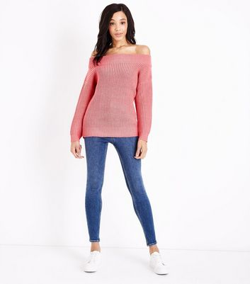 Pink Ribbed Bardot Off the Shoulder Jumper New Look