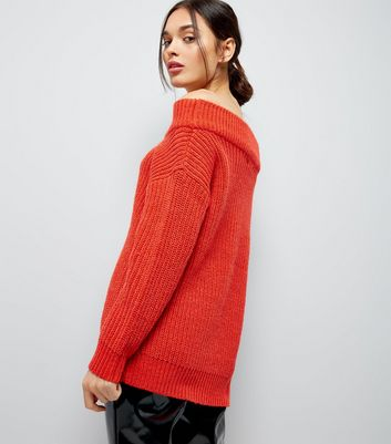 Orange Ribbed Bardot Neck Jumper New Look