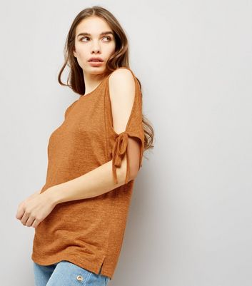 Orange Cold Shoulder Tie Sleeve Top New Look