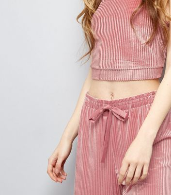 Deep Pink Ribbed Velvet Pyjama Top New Look