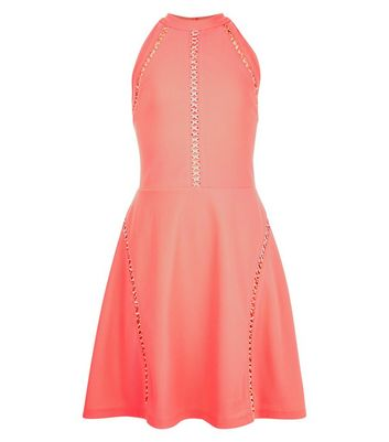 Teens Coral Ribbed Lattice Trim Skater Dress New Look