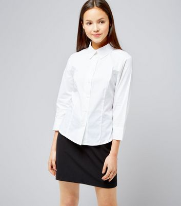 Teens White 3/4 Sleeve School Shirt New Look