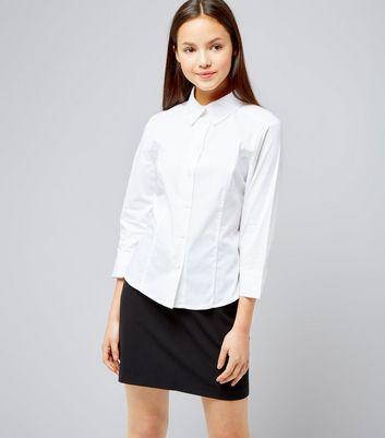 Teens White 3/4 Sleeve School Shirt New Look