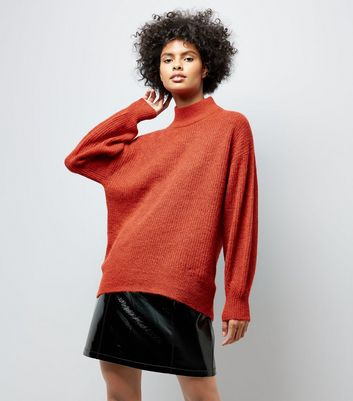 Red Longline Funnel Neck Jumper New Look