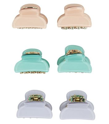 6 Pack Green Lilac and Pink Mini Bulldog Clips New Look