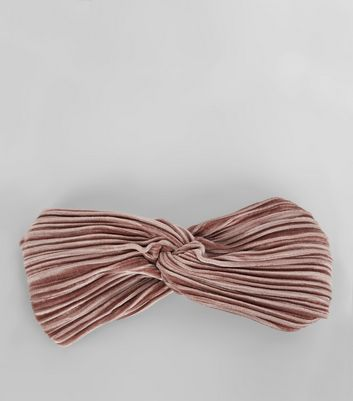 Pink Pleated Velvet Twist Front Headband New Look