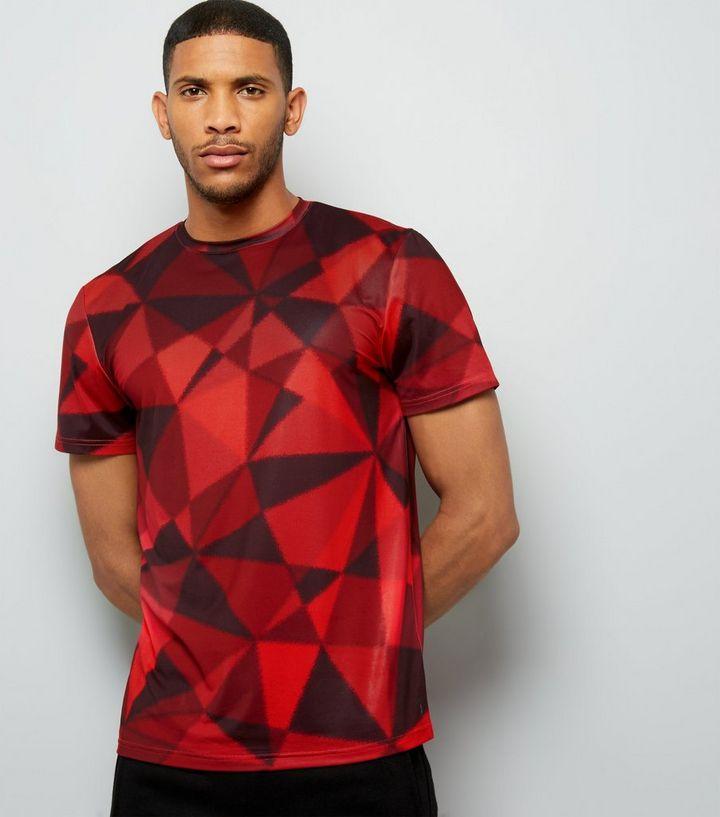 8f4b506377 Red Geometric Print Sports T-Shirt | New Look