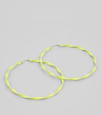 Neon Yellow Twisted Hoop Earrings New Look