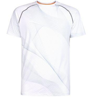 White Linear Print Short Sleeve Sports T-Shirt New Look