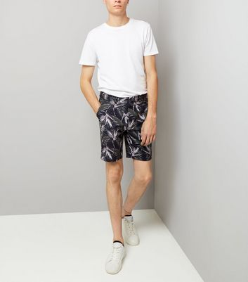 Navy Palm Print Tailored Shorts New Look