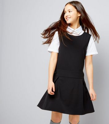 Teens Black Pinafore Dress New Look