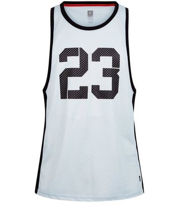 Black 23 Print Mesh Boxing Vest New Look