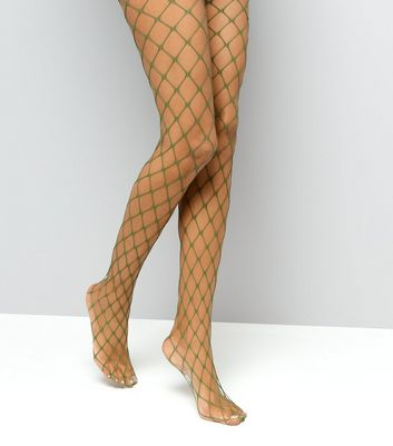 Khaki Oversized Fishnet Tights New Look