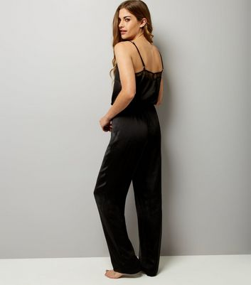 Black Satin Lace Trim Lounge Jumpsuit New Look