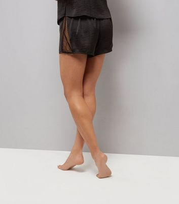 Black Lace Trim Sateen Pyjama Shorts New Look