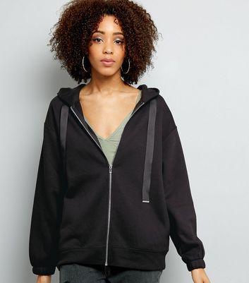 oversized zip front hoodie
