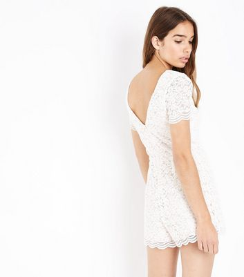 Cream Lace Lattice Front Playsuit New Look