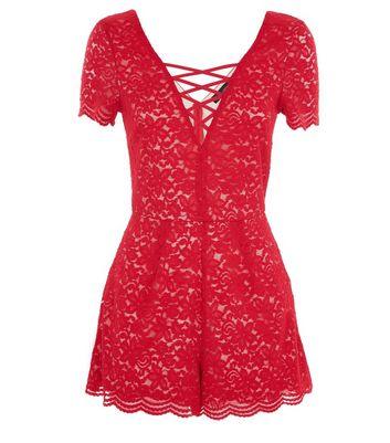 Red Lace Lattice Front Playsuit New Look
