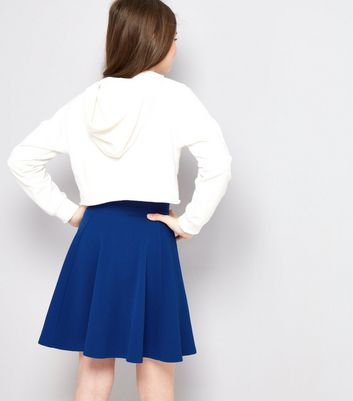 Teens Blue Crepe Skater Skirt New Look