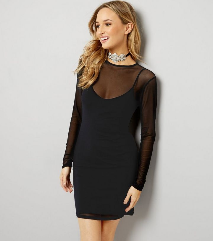 e0b04f3f7761 Black Mesh Long Sleeve Bodycon Dress