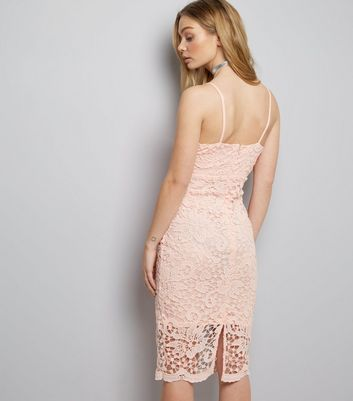 AX Paris Pink Crochet Lace Midi Dress New Look