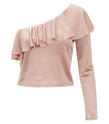 Shell Pink Frill Trim One Shoulder Top New Look