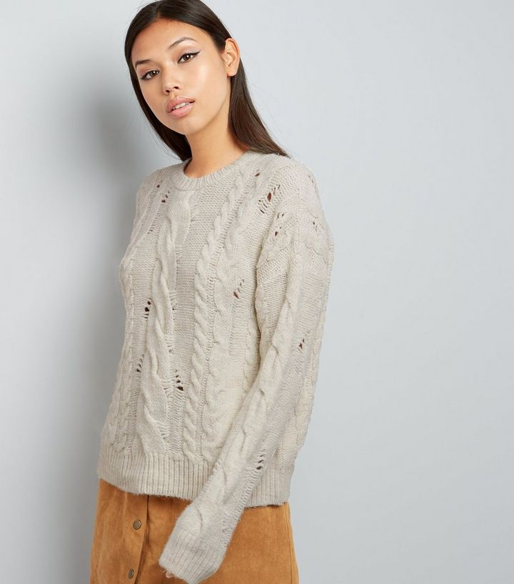 09e280fe44c Cream Ladder Ripped Cable Knit Jumper Add to Saved Items Remove from Saved  Items