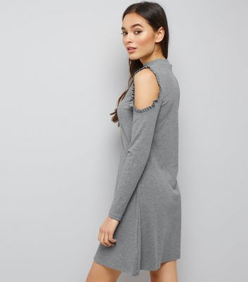 Grey Frill Trim Cold Shoulder Long Sleeve Swing Dress New Look