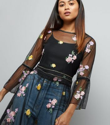 Petite Black Floral Embroidered Studded Mesh Dress New Look