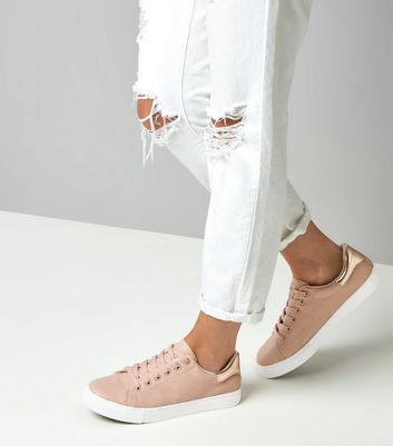 Pink Lace Up Trainers   New Look