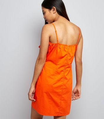Petite Orange Tie Front Slip Dress New Look