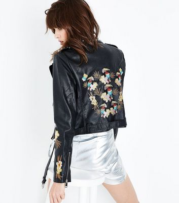 Blue Vanilla Black Leather-Look Embroidered Stud Jacket New Look