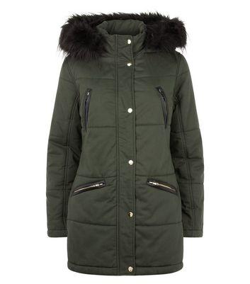 Khaki Leather-Look Trim Zip Pocket Parka New Look