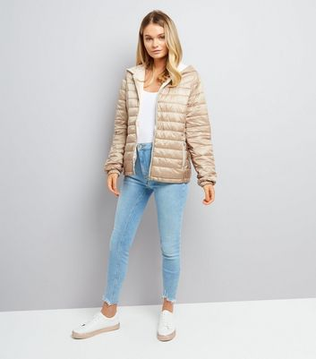 Stone Lightweight Puffer Jacket New Look