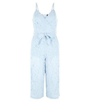 Petite Pale Blue Premium Lace Wrap Front Jumpsuit New Look