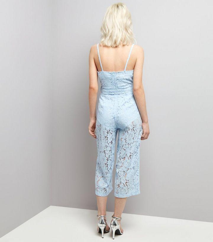58b074aceca ... Petite Pale Blue Premium Lace Wrap Front Jumpsuit. ×. ×. ×. Shop the  look