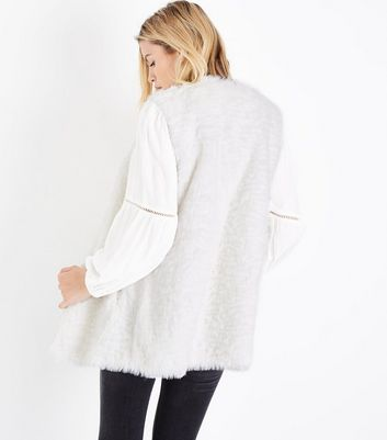 White Faux Fur Gilet New Look