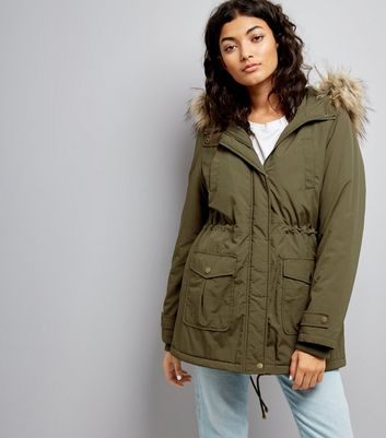 Khaki Faux Fur Trim Hooded Parka New Look