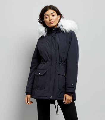 Navy Faux Fur Trim Hooded Parka New Look
