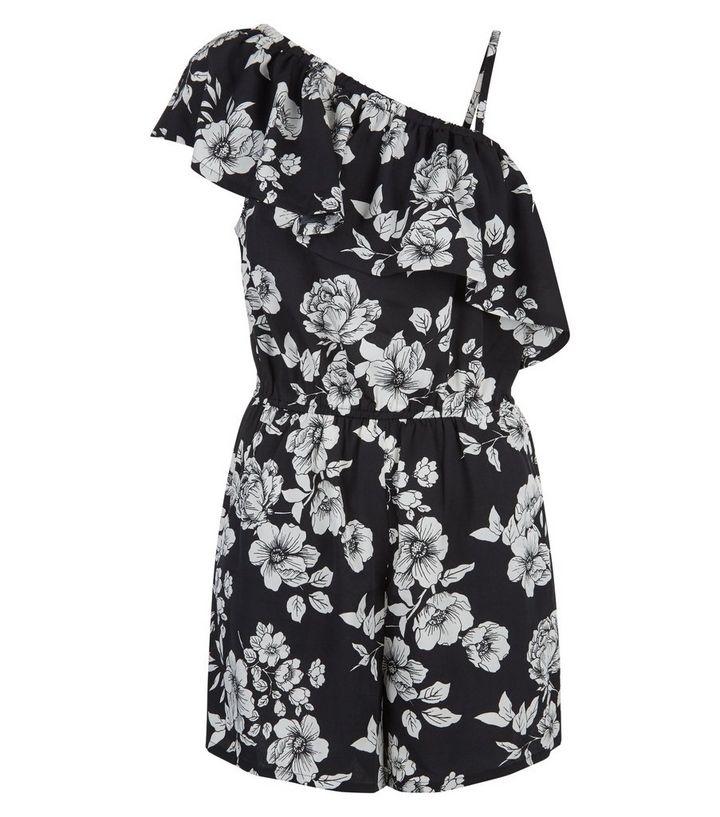 e698d48c30c18 ... Black Floral Print Frill Trim Off the Shoulder Playsuit. ×. ×. ×. Shop  the look