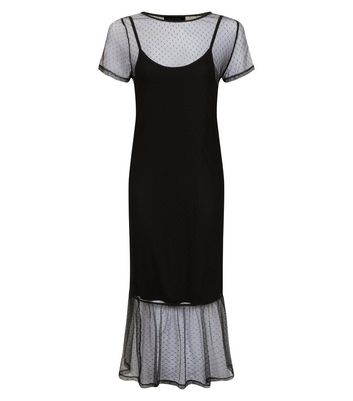 Black Spot Print Mesh Midi Dress New Look