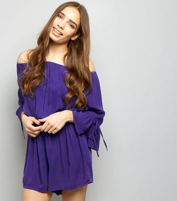 Purple Bardot Neck Bell Sleeve Playsuit New Look