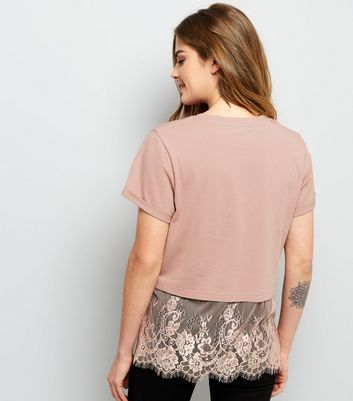 Pink Lace Hem T-Shirt New Look