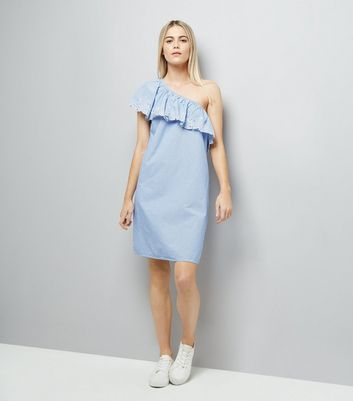 Blue Stripe Crochet Lace Off the Shoulder Dress New Look
